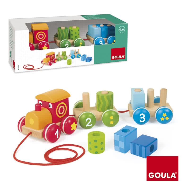 Trenino trainabile 123 giocattoli di legno goula - Trenino di legno ikea ...