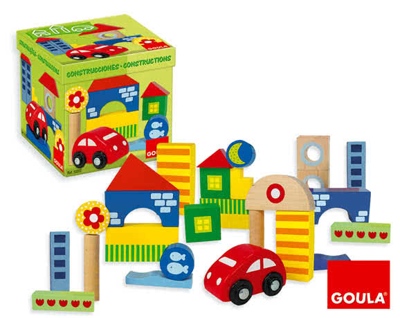 Costruzioni in legno + macchinina Goula - Giocattoli di legno