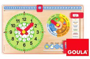 Orologio e calendario rettangolare in legno