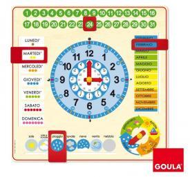Orologio e calendario in legno Goula